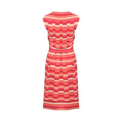 stripe pattern boat neck dress